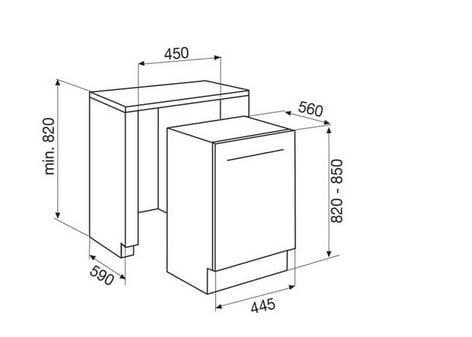 Gdi450 lavastoviglie by glem gas for Lavastoviglie incasso misure