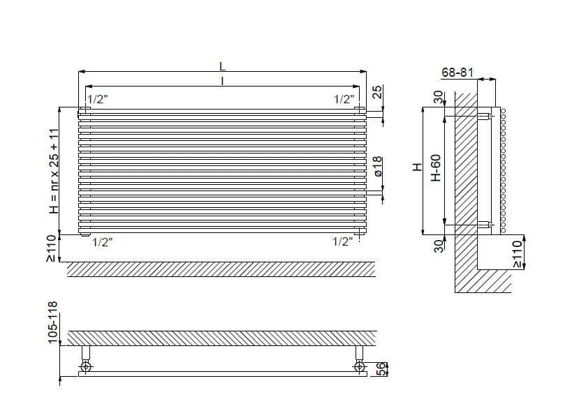 Giada or scaldasalviette in acciaio lucido linea radiatori - Scaldasalviette ad acqua ...