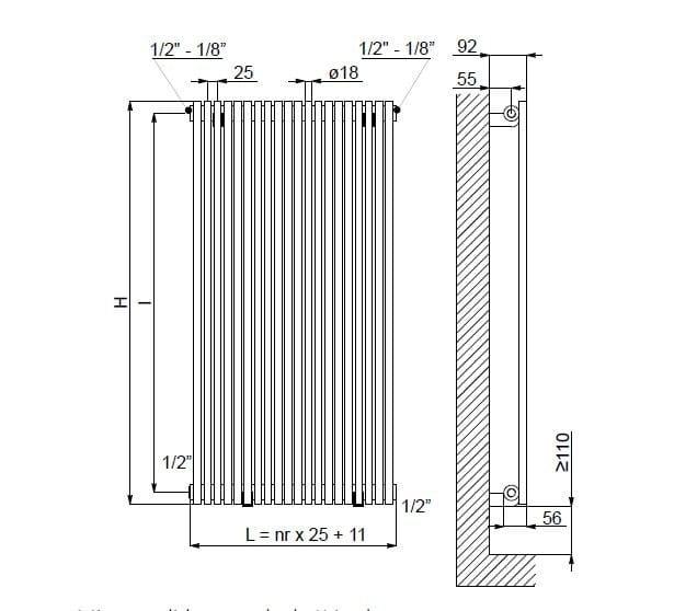 Giada vt scaldasalviette in acciaio lucido linea radiatori - Scaldasalviette ad acqua ...