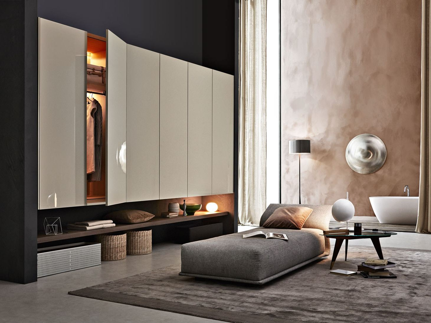 lacquered wardrobe with drawers gliss up by molteni design. Black Bedroom Furniture Sets. Home Design Ideas