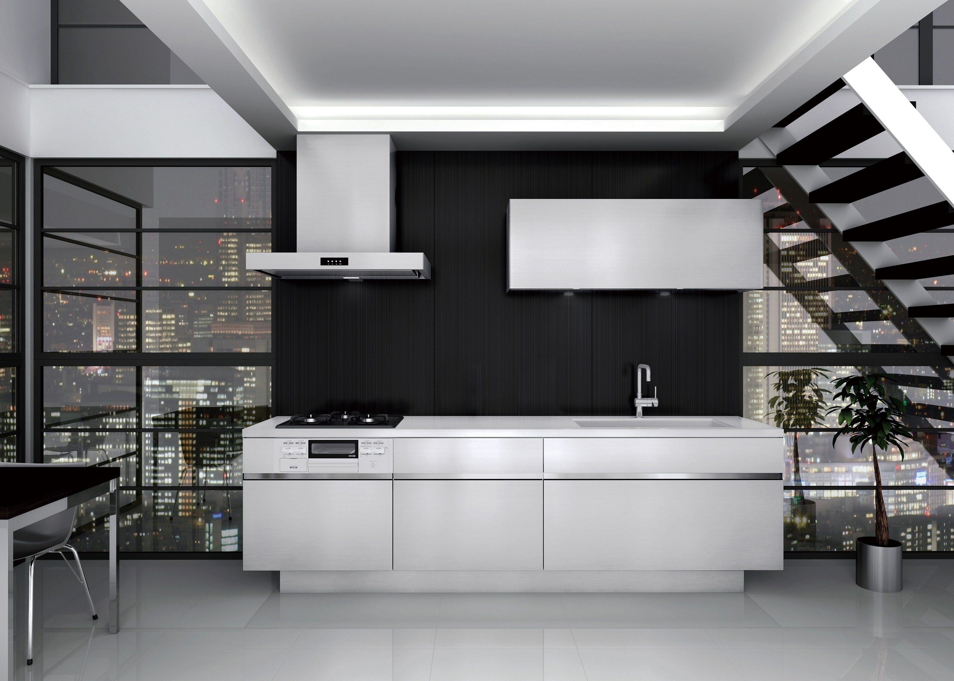 Cucina in acciaio inox senza maniglie grad45 by sanwa company - Maniglie cucina ...