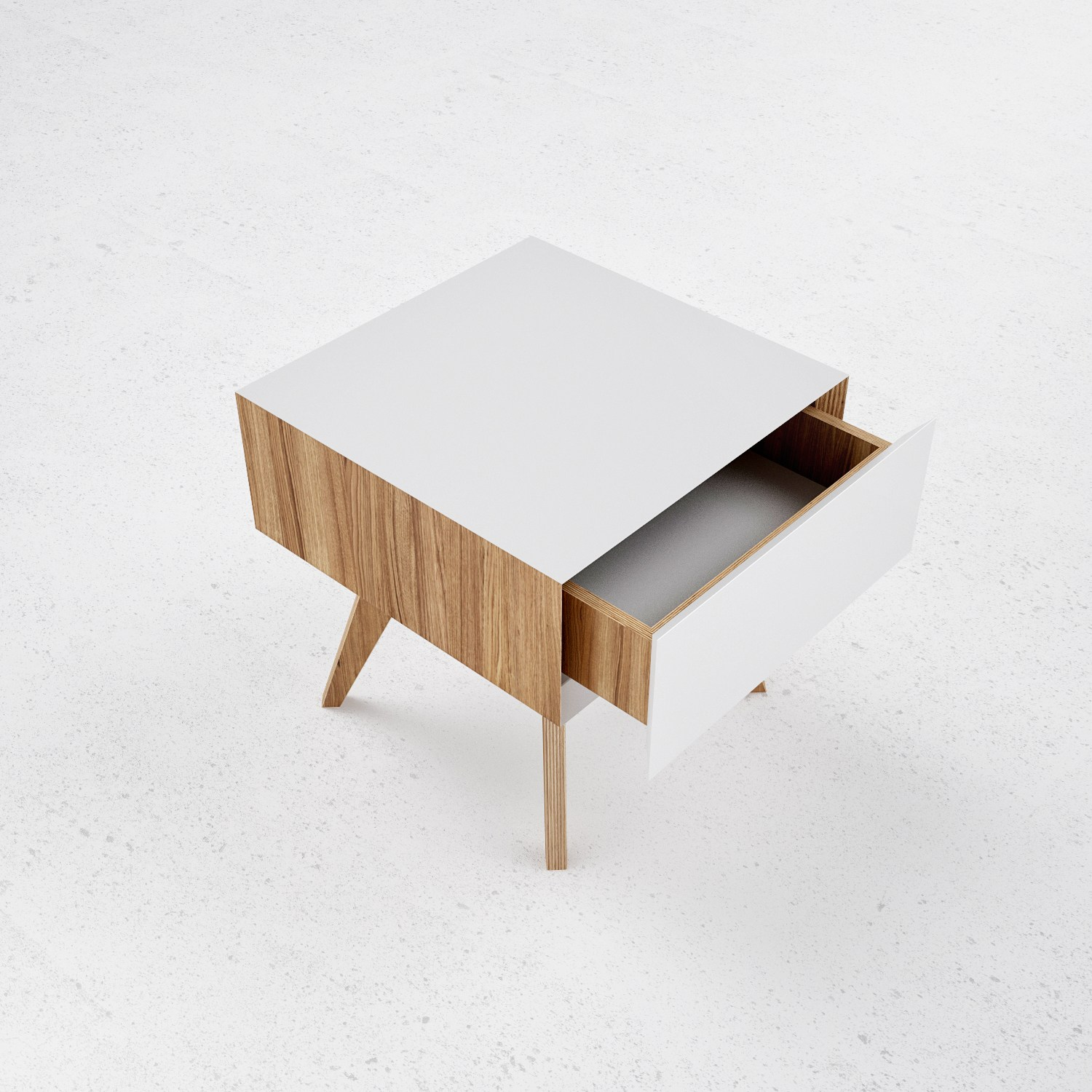 Steel and wood bedside table h1 by odesd2 design for Wood and metal bedside table