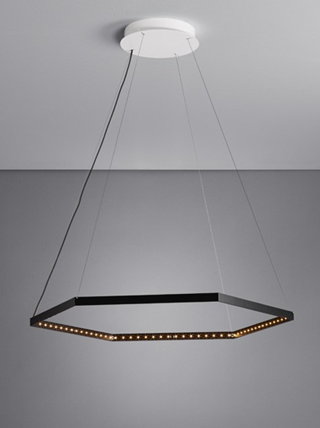 LED direct light indirect light steel pendant lamp HEXA 1
