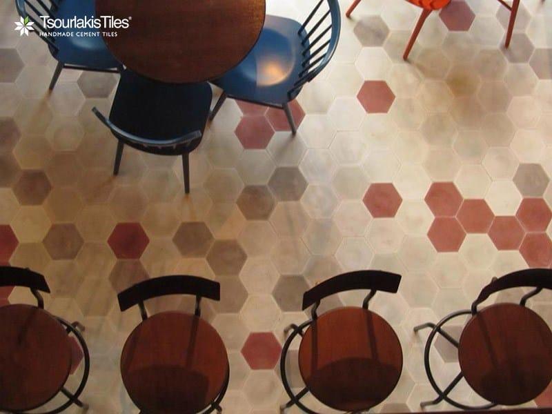 revtement de solmur en ciment pour intrieur et extrieur hexagon solid color tsourlakistiles - Ciment Color Exterieur