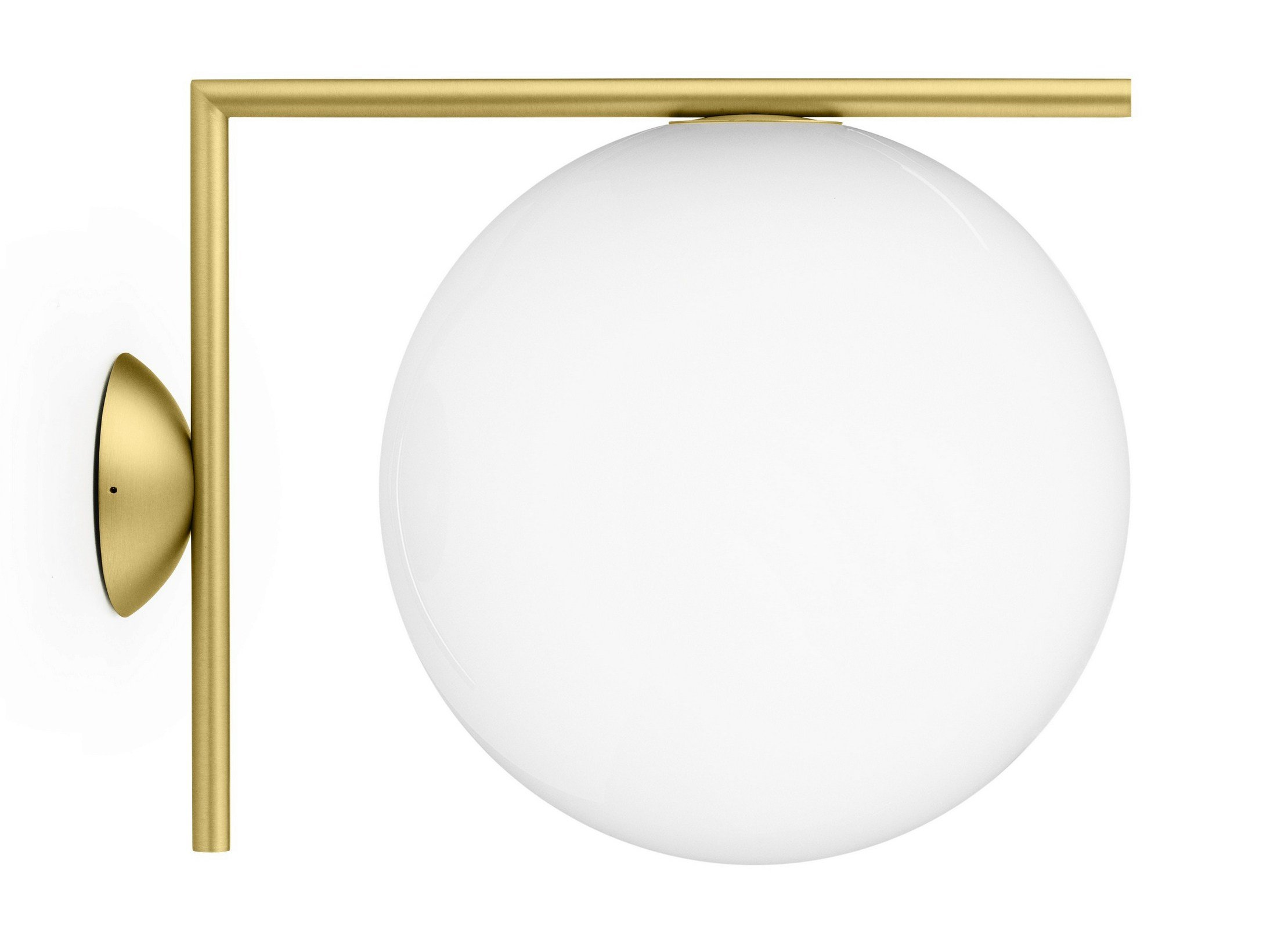 Flos Ic Lights 200 Wall Light Brushed Brass : Opal glass wall lamp IC LIGHTS CW2 by FLOS design Michael Anastassiades