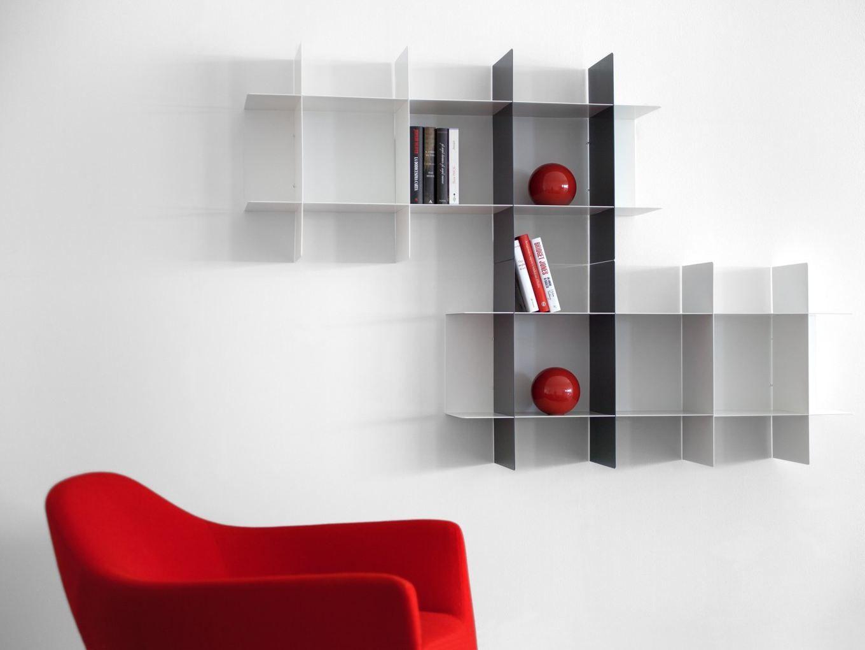 Libreria modulare con mensole ad incastro innesto by meme for Mensole libreria