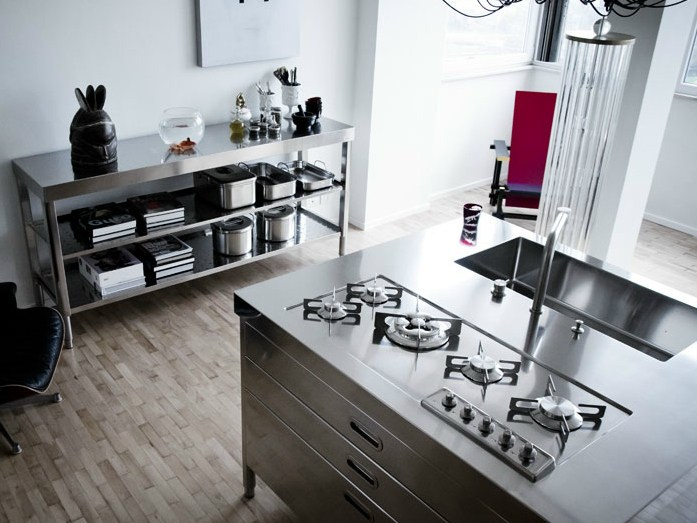 Isola cucina 130 1 modulo cucina in acciaio inox by alpes inox - Cucina acciaio inox ...