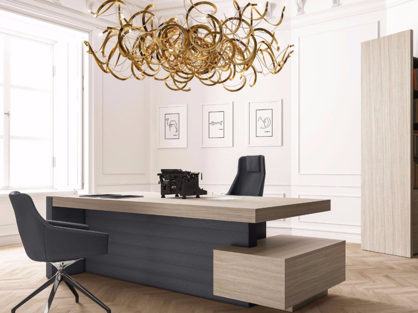 Jera office desk with drawers by las mobili for Center table design for office