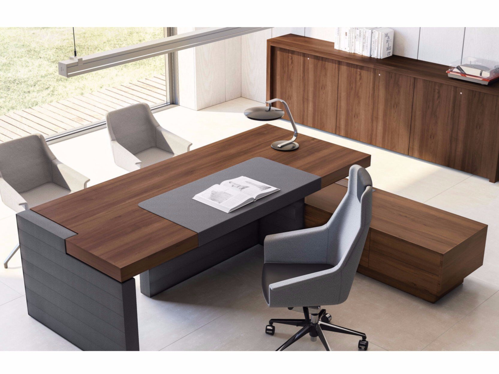 Jera office desk with shelves by las mobili for Oficinas minimalistas