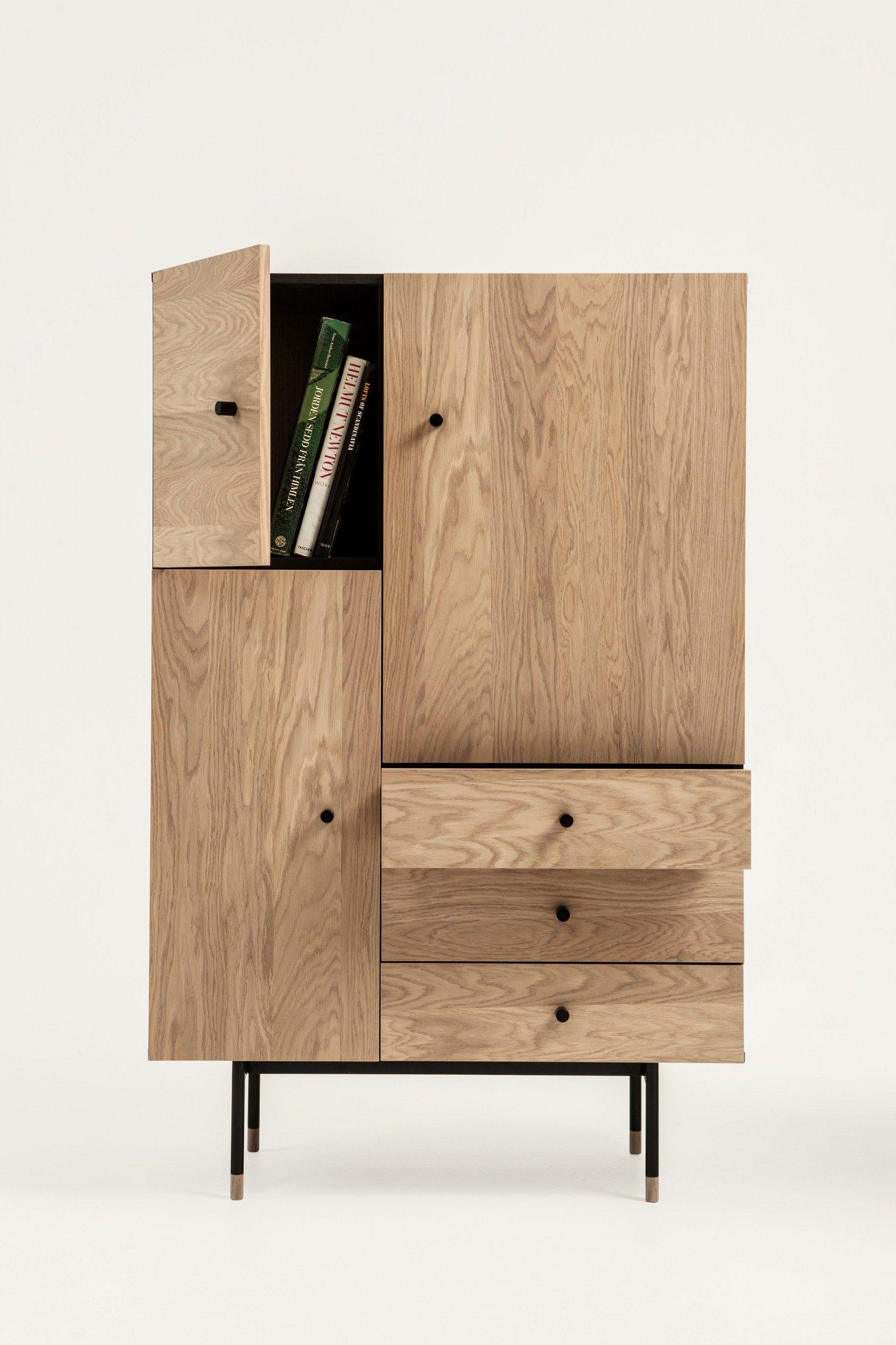 Wood veneer highboard with drawers JUGEND Highboard - Woodman