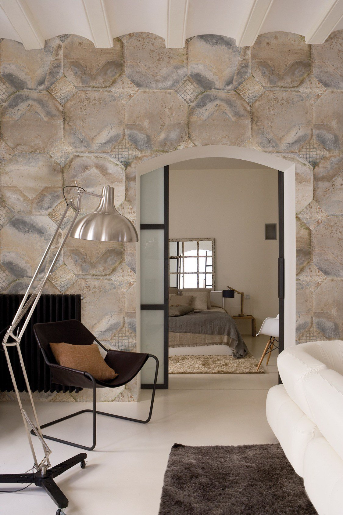 Stone effect geometric panoramic wallpaper k'op giocoadue ...