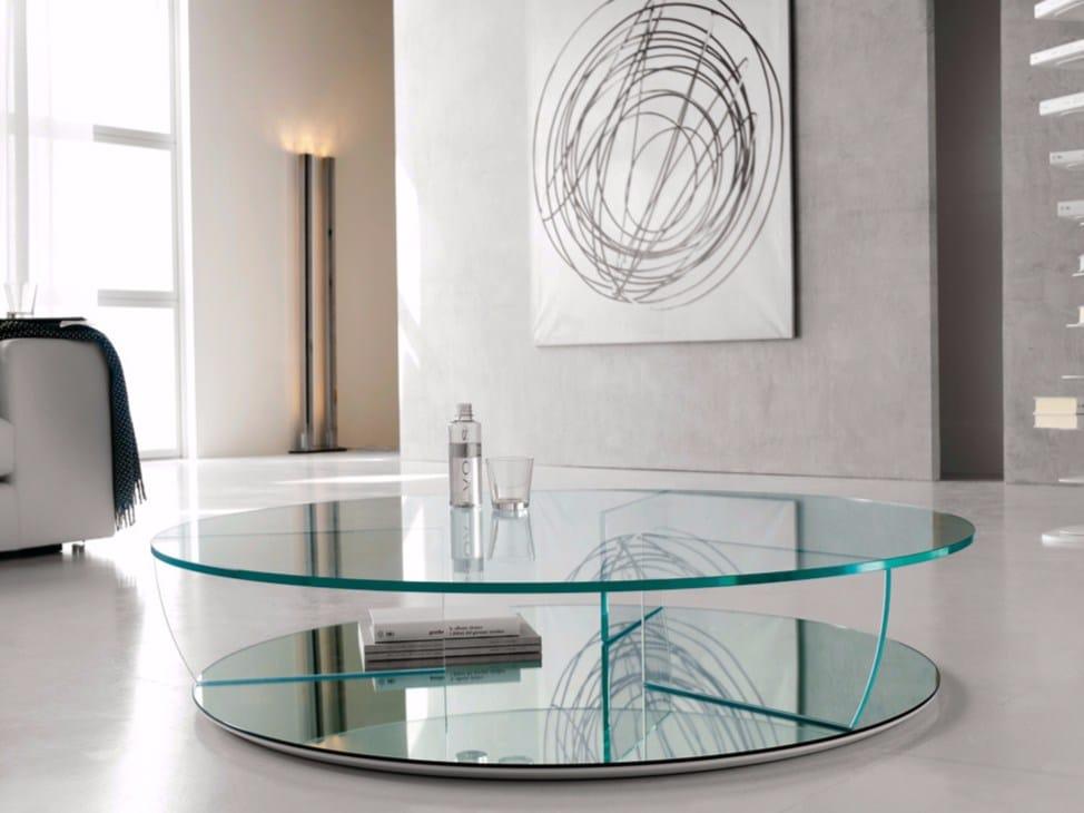 Tavolino rotondo in cristallo kadir by cattelan italia for Mobili cattelan prezzi