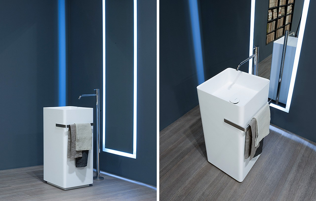 lavabo sur pied en corian kubik by antonio lupi design design nevio tellatin. Black Bedroom Furniture Sets. Home Design Ideas
