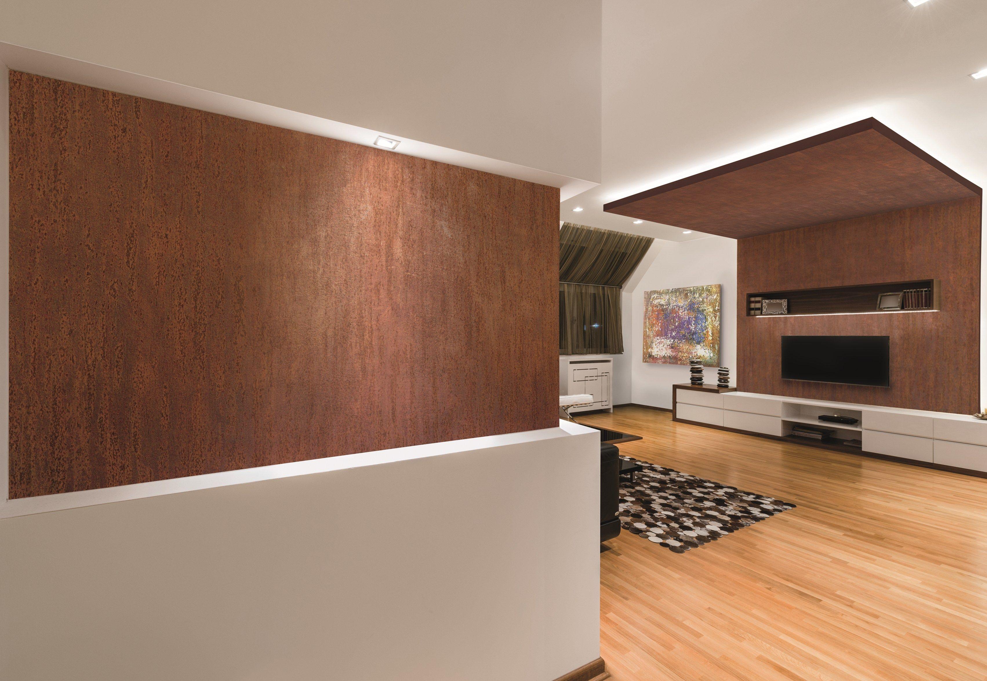Pittura decorativa lavabile ad effetto metallizzato for Metodi di pittura per interni