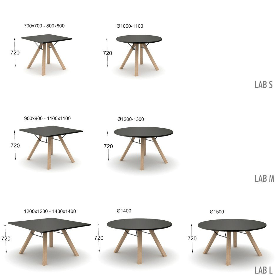 Lab table ronde collection lab by inno interior oy design - Dimension table ronde ...