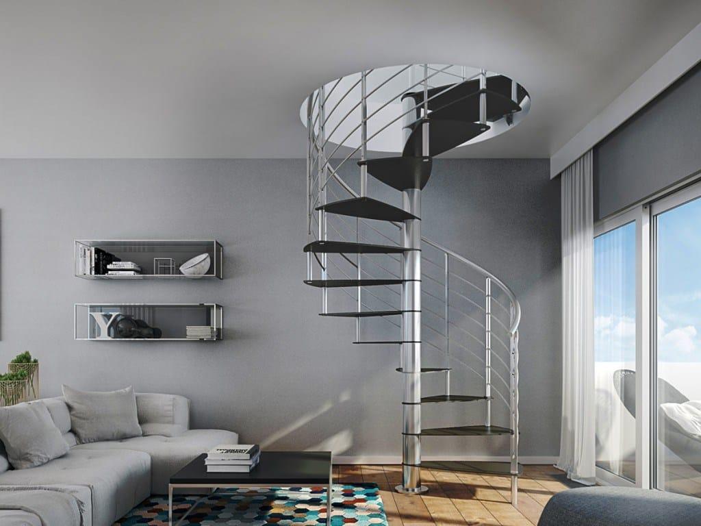 Escalera de caracol de acero revestido de polvo lamina by for Escaleras rintal