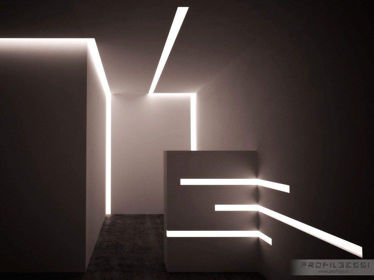 Profilo per illuminazione da parete da incasso per moduli LED LED 003 by Profilgessi