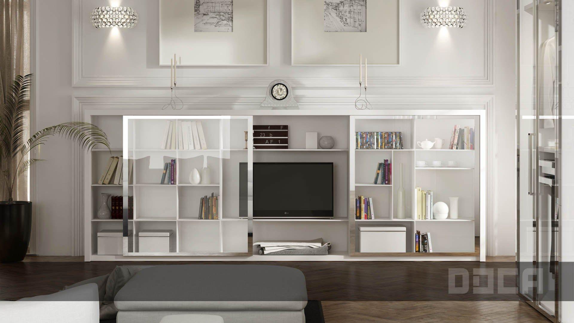 armario modular de vidrio con puertas correderas lira by doca