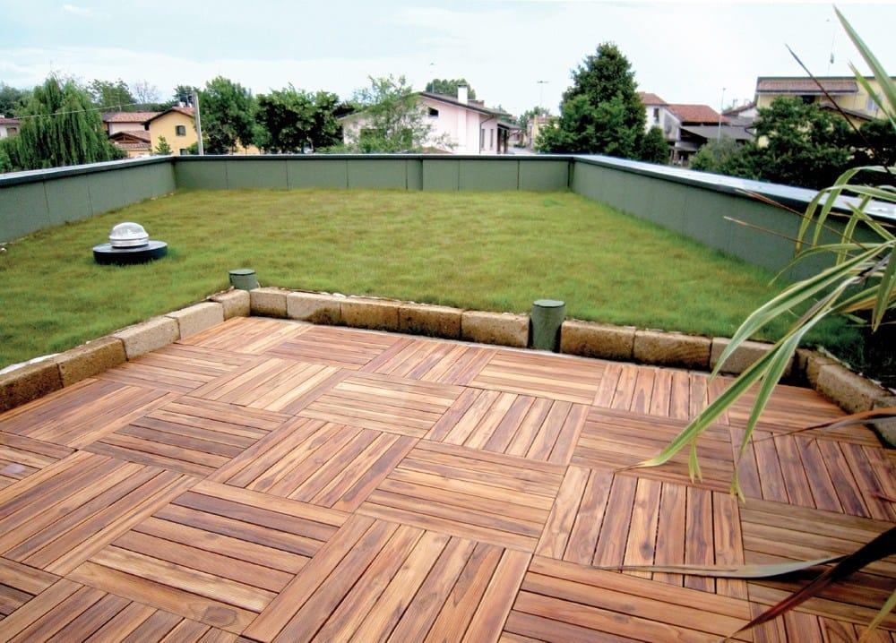 Piastra in legno per pavimentazione da giardino listoplate - Piastrelle in legno da esterno ...