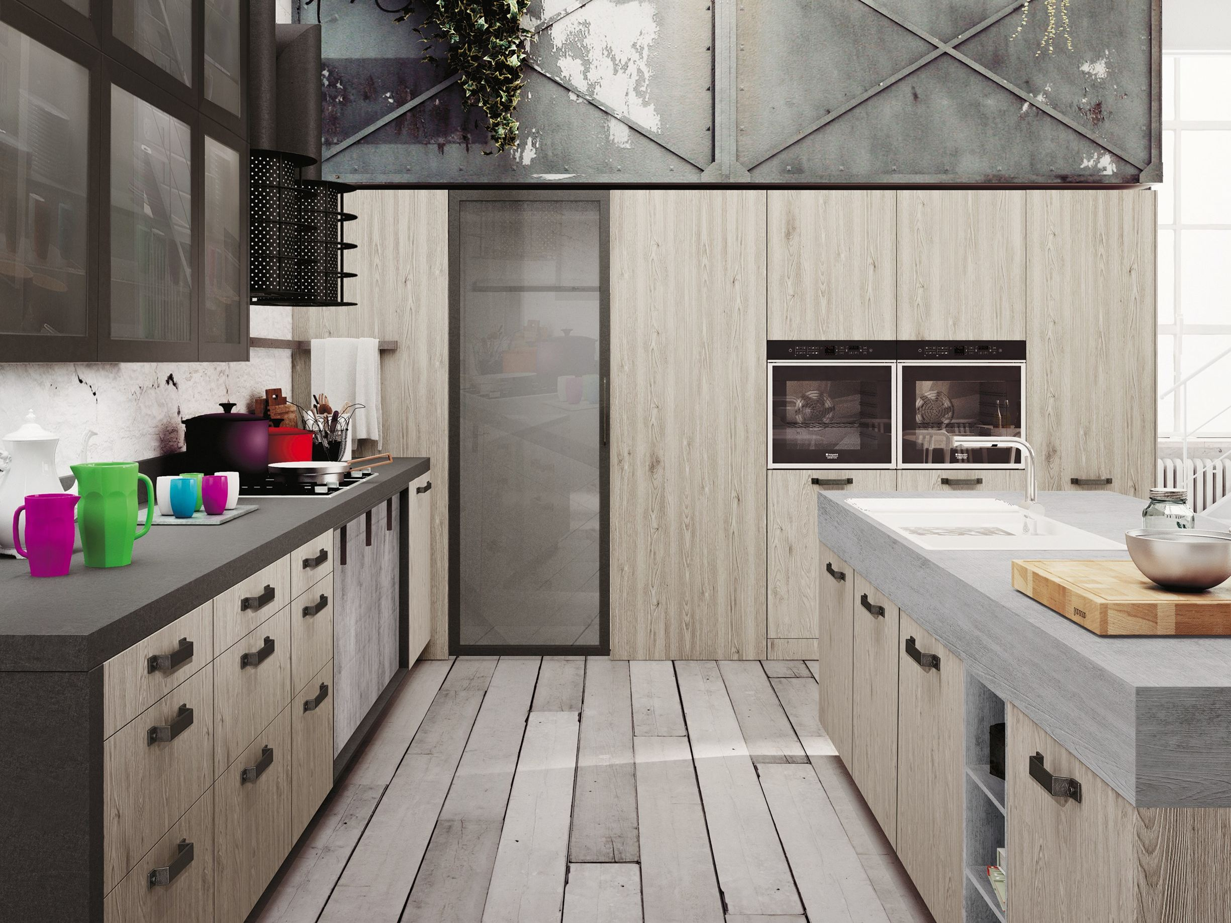 Loft kitchen with island sistema collection by snaidero for Cuisine loft