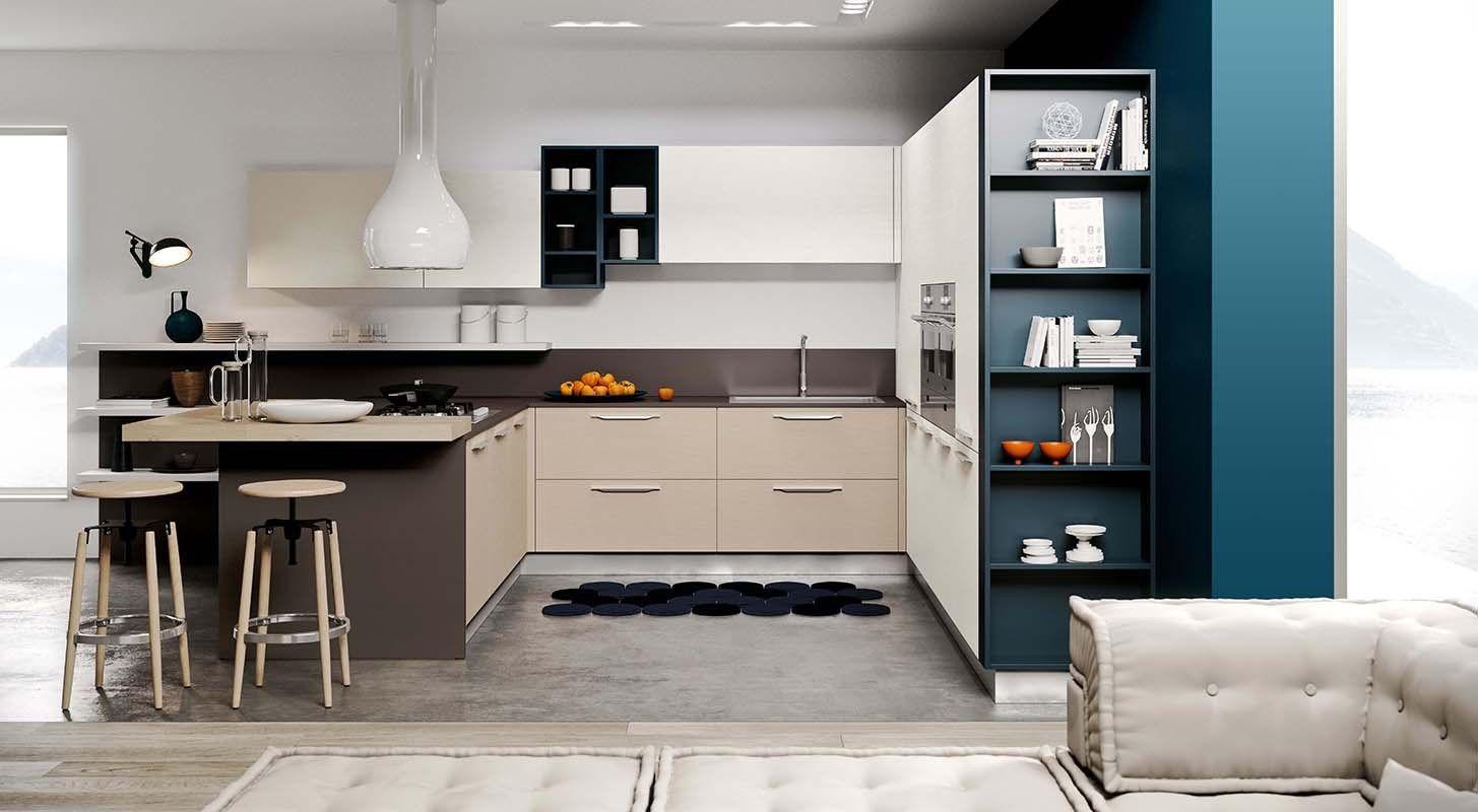 Cucina componibile in acciaio in stile americano con isola for Cucina luna arredo3 prezzi