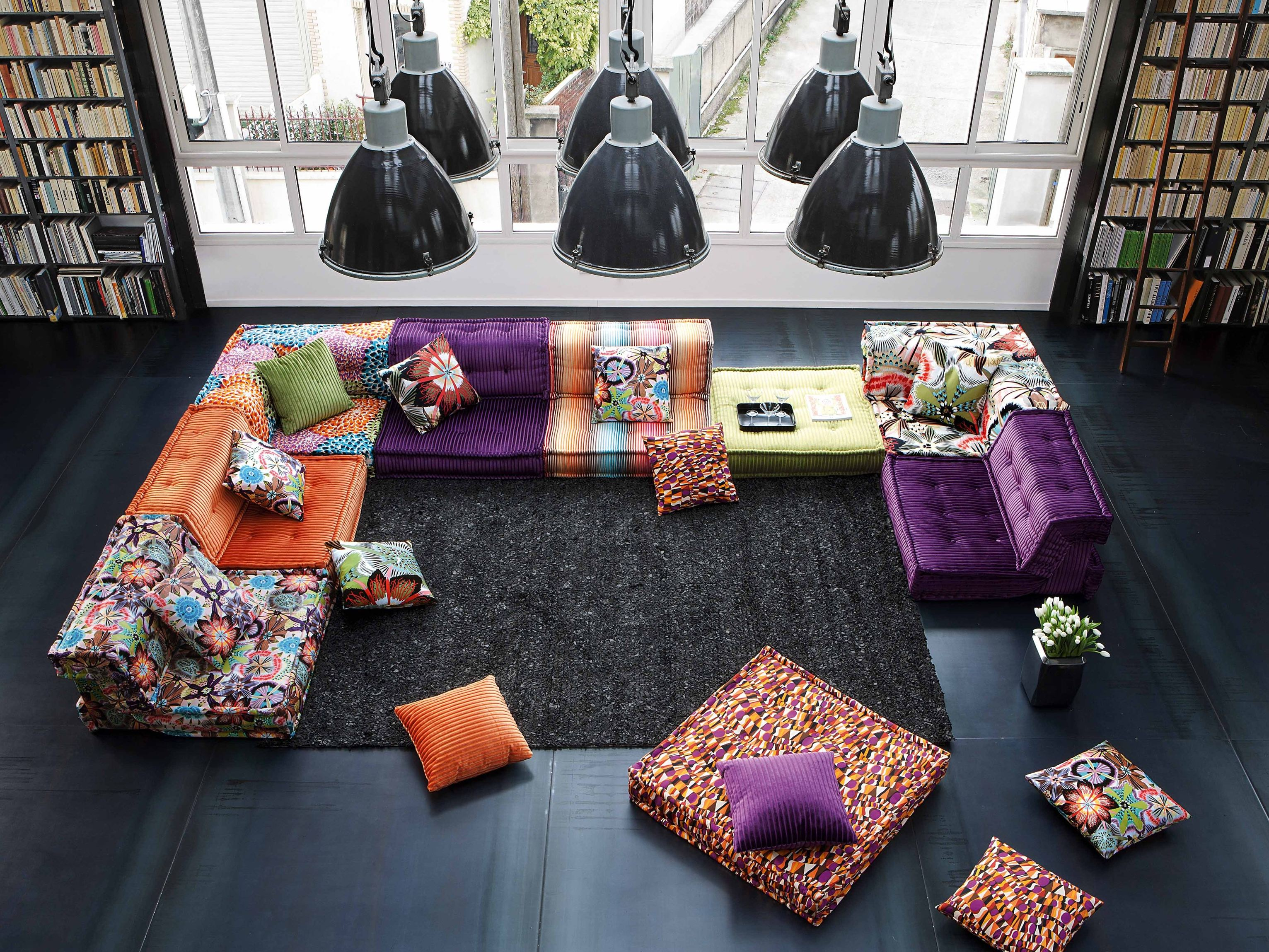 anbausofa aus stoff mah jong missoni home by roche bobois. Black Bedroom Furniture Sets. Home Design Ideas