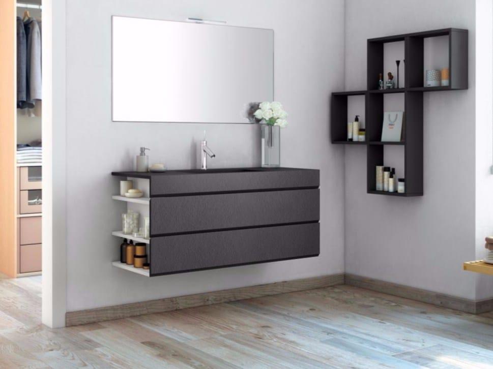 Meuble sous vasque mural en mdf avec tiroirs avec miroir for Meuble mural avec miroir