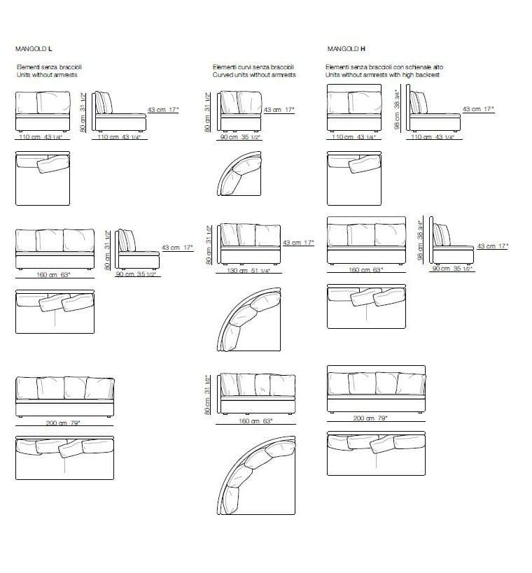 Mangold divano collezione mangold by arflex design for Divano 4 posti dimensioni
