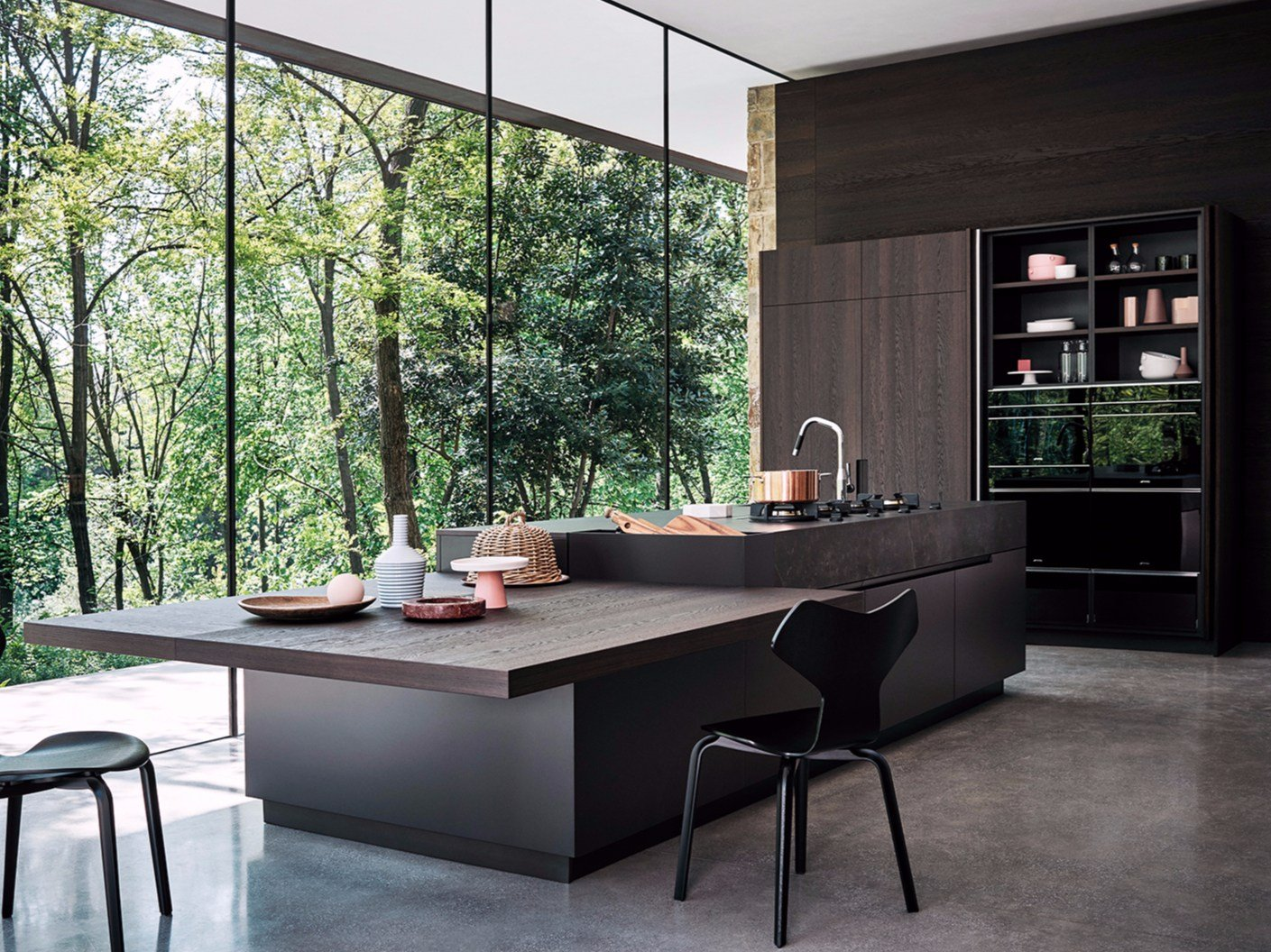 oak fitted kitchen with island maxima 2 2 composition 1 by cesar arredamenti. Black Bedroom Furniture Sets. Home Design Ideas