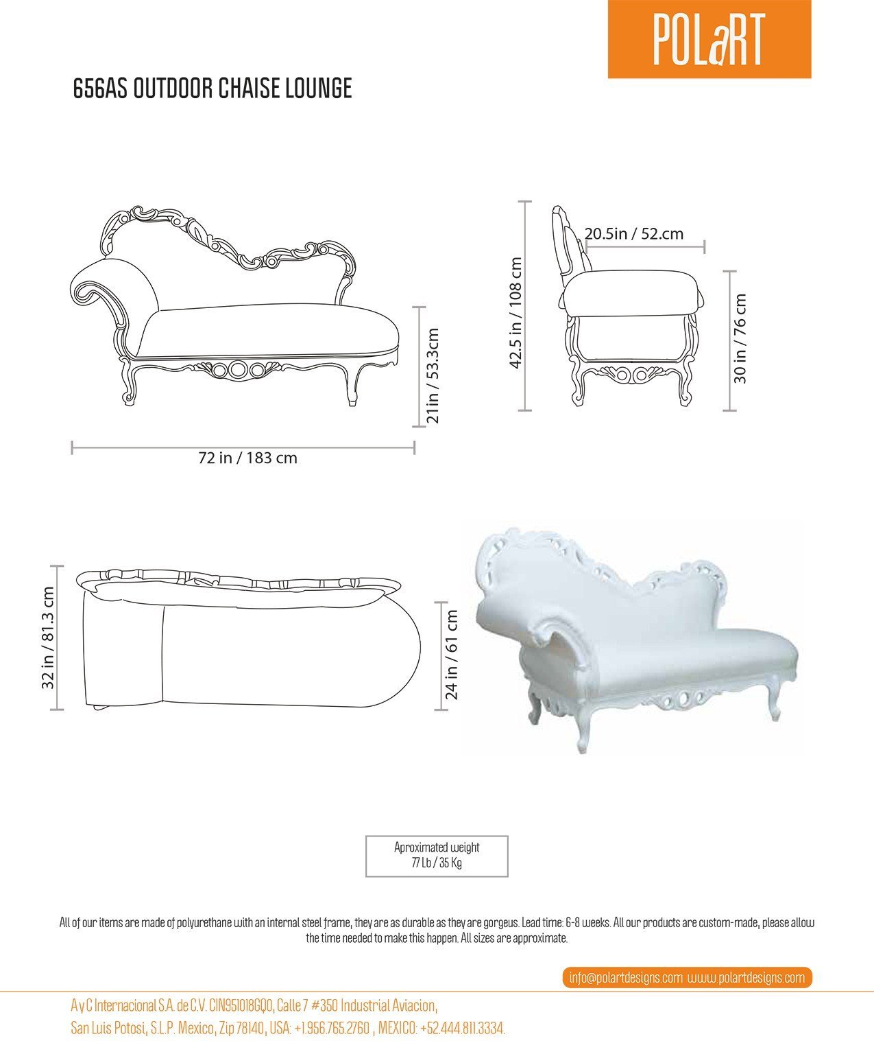 Chaise longue meridienne by polart for Dimension chaise longue