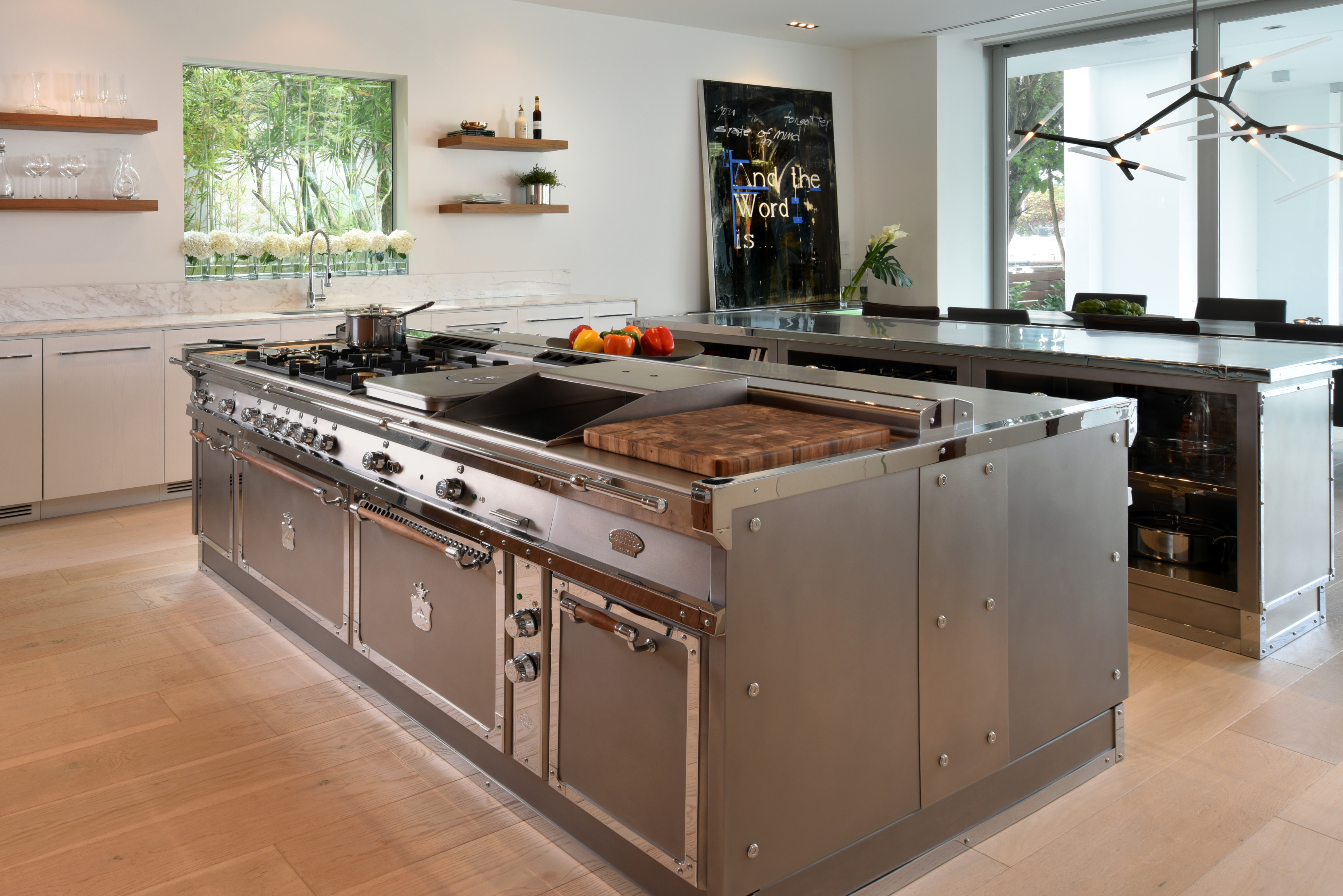 Stainless Steel Kitchen With Island Miami By Officine Gullo