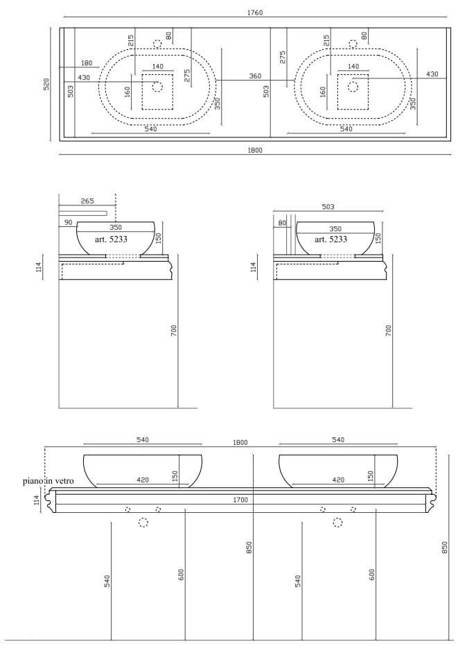 MIDAS Piano lavabo doppio by GALASSIA