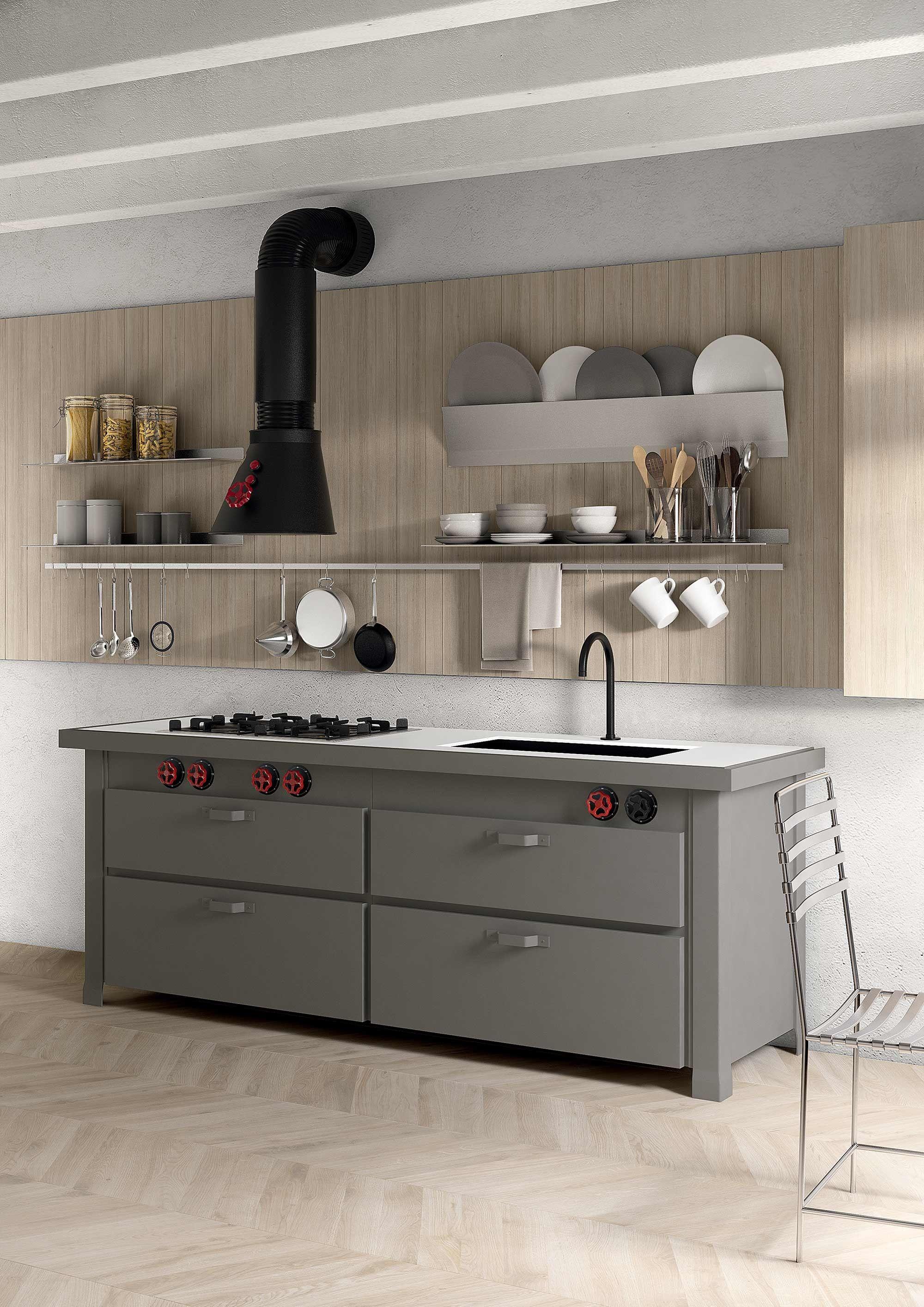 Cucina in metallo min professional a parete by minacciolo - Cucina a parete ...