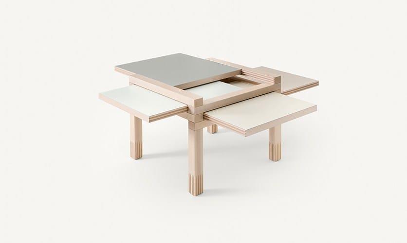 Low Solid Wood Coffee Table Mini Par4 By Sculptures Jeux By Eppis Design Bernard Vuarnesson