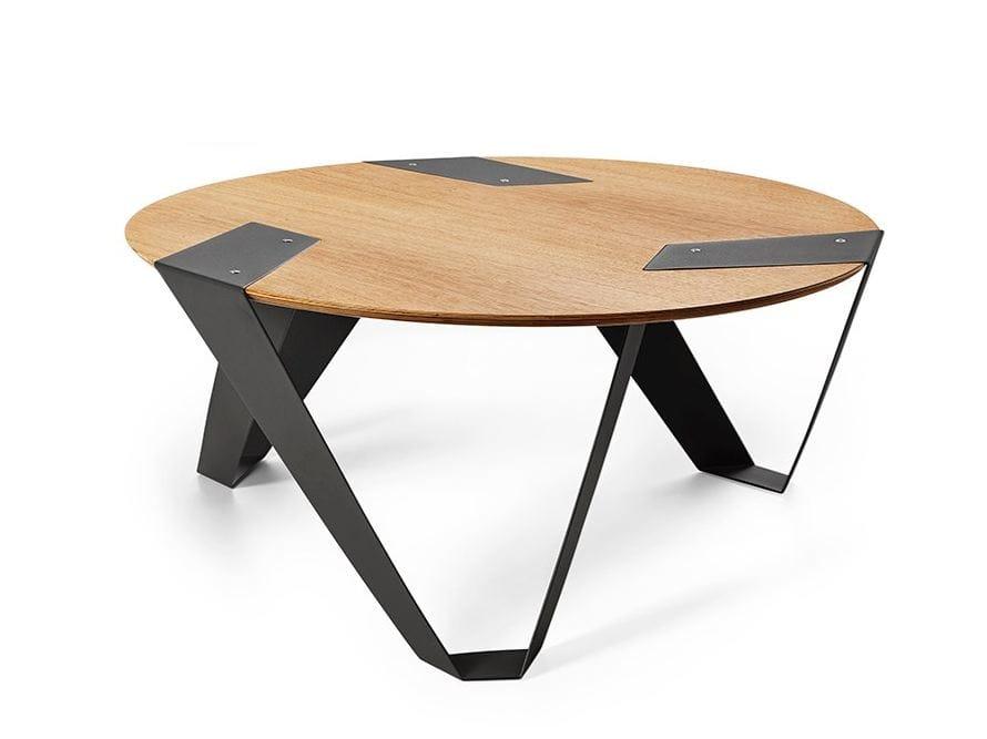 Table basse ronde en aluminium et bois mobiush by tabanda - Table basse en aluminium ...