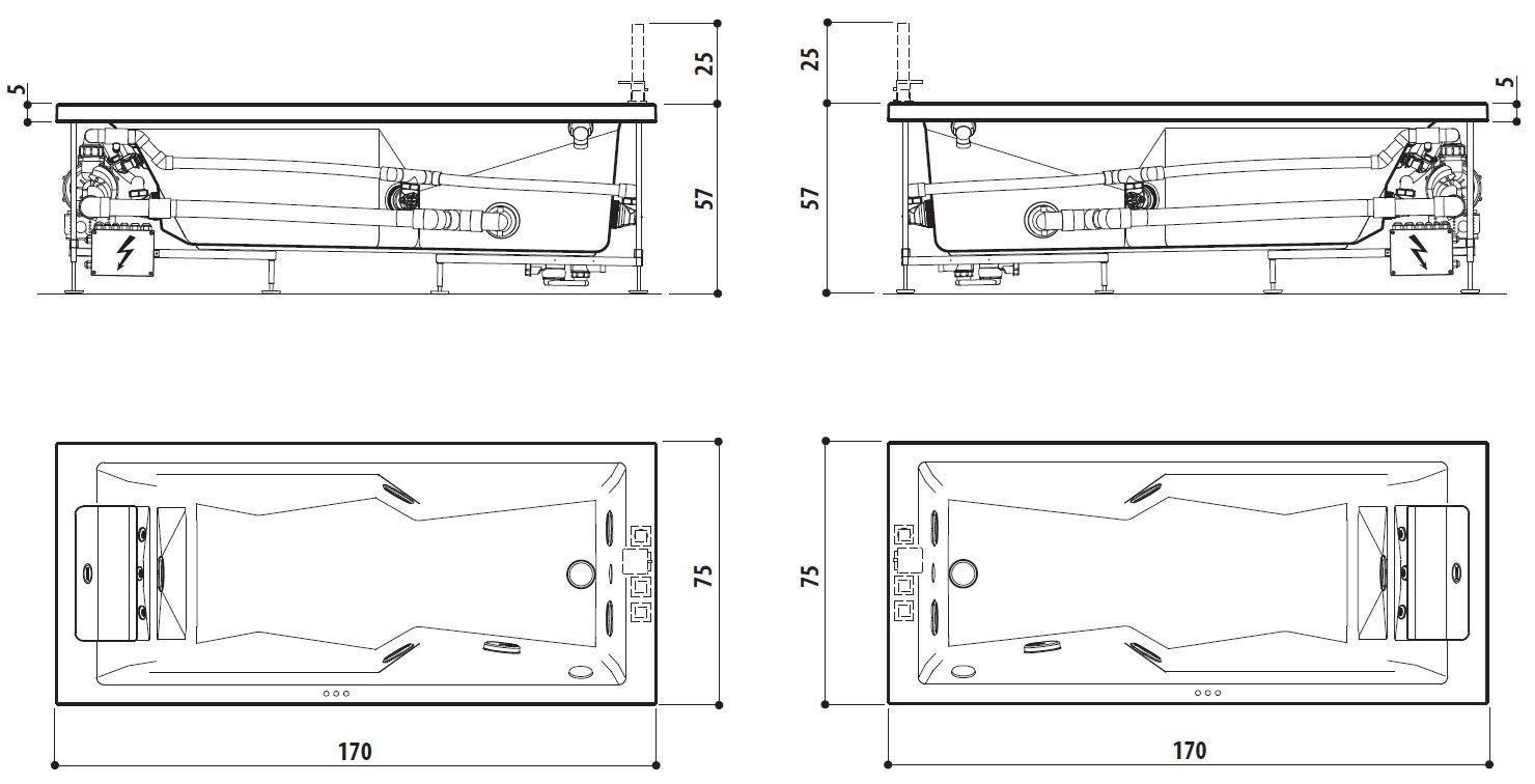 Banheira com hidromassagem MYWAY 170 Coleção MyWay by Jacuzzi Europe design M -> Banheiro Com Banheira Dimensões