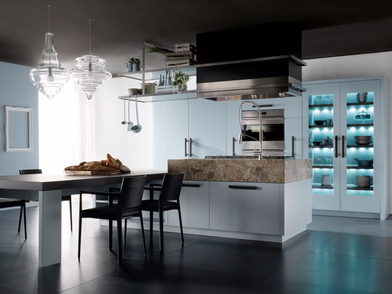 Lacquered kitchen with island nant a cielo by toncelli cucine - Cucine toncelli ...