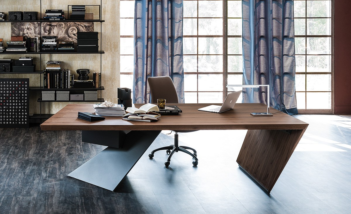 wooden writing desk with drawers nasdaq by cattelan italia design paolo cattelan. Black Bedroom Furniture Sets. Home Design Ideas