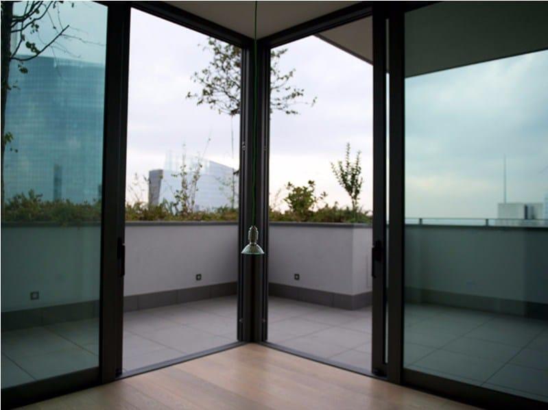 Porta finestra con doppio vetro in alluminio nc s 150 sth - Porta finestra doppio vetro ...