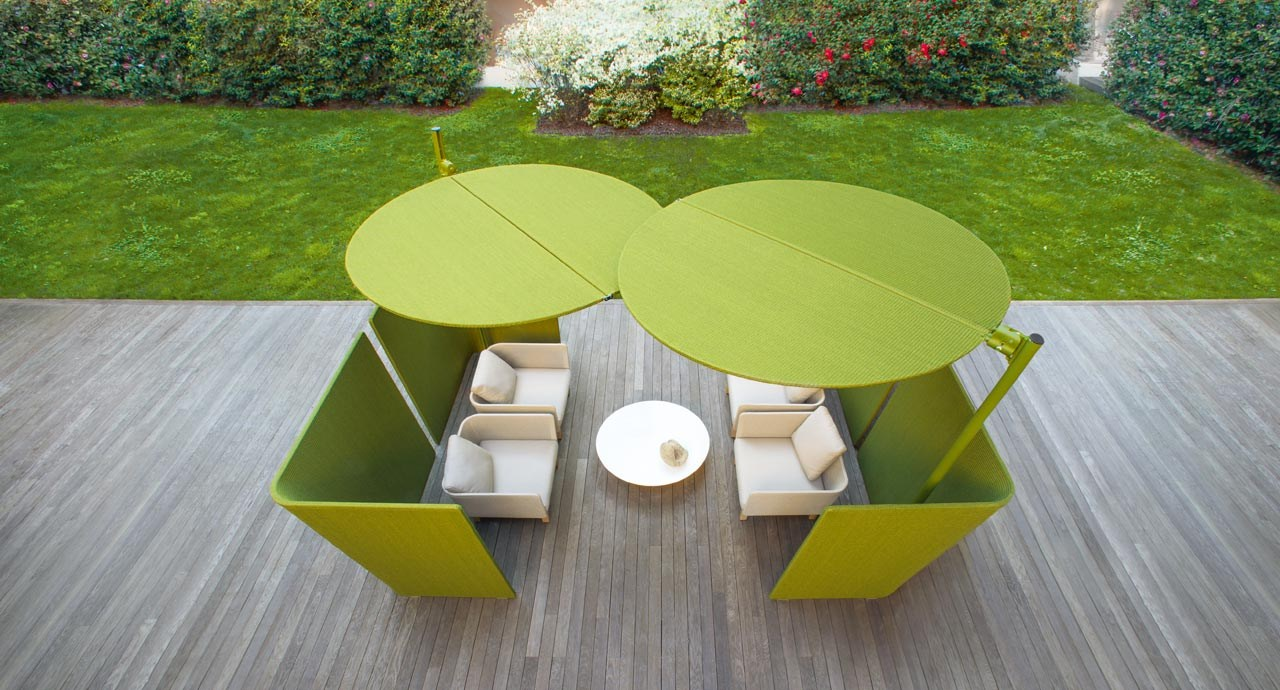 offset adjustable garden umbrella ombra by paola lenti. Black Bedroom Furniture Sets. Home Design Ideas