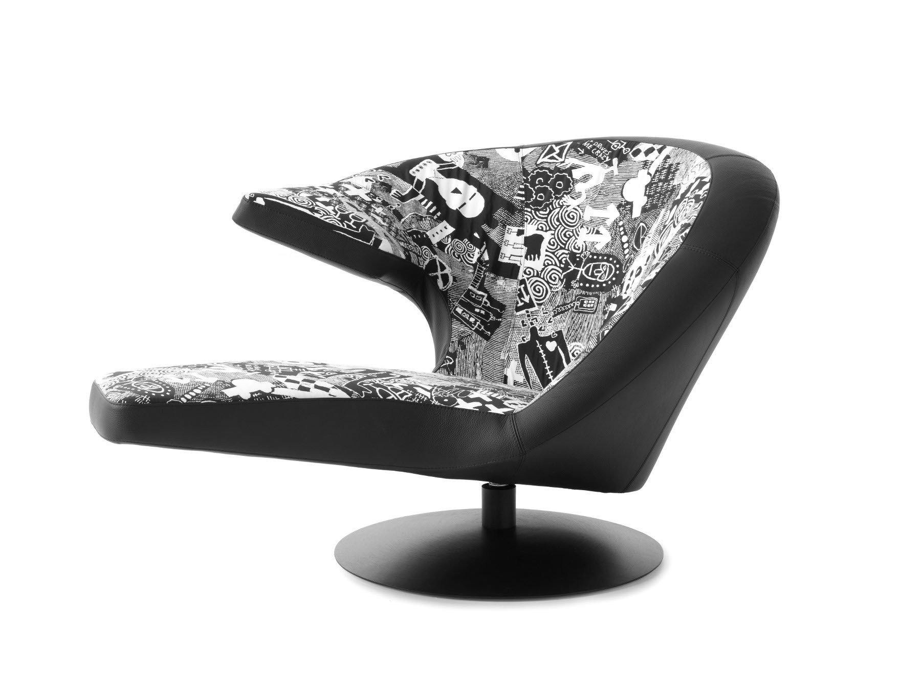Swivel Leather Armchair Parabolica Art Edition By Leolux