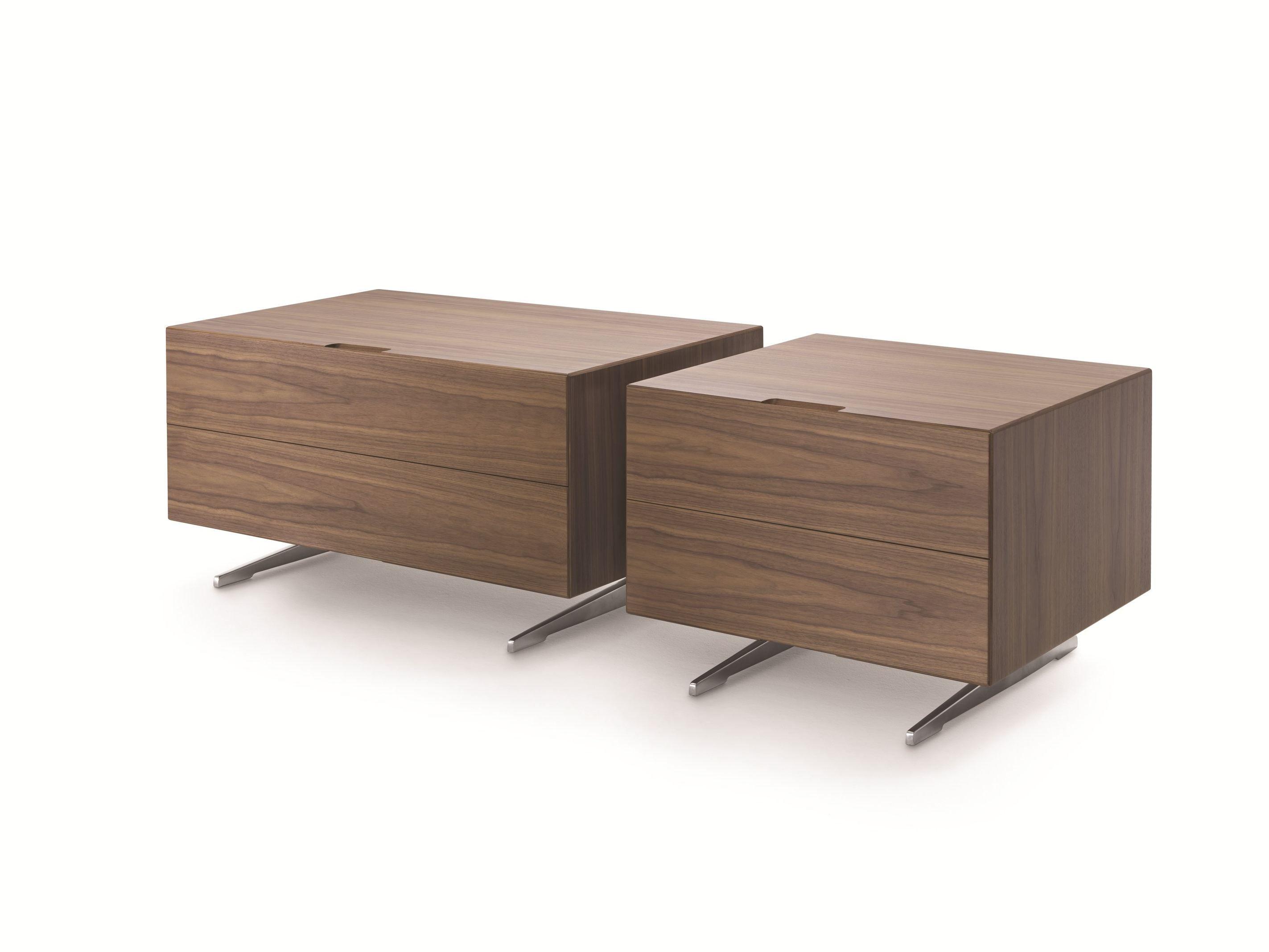Table de nuit rectangulaire en bois avec tiroirs piuma for Table de nuit bois