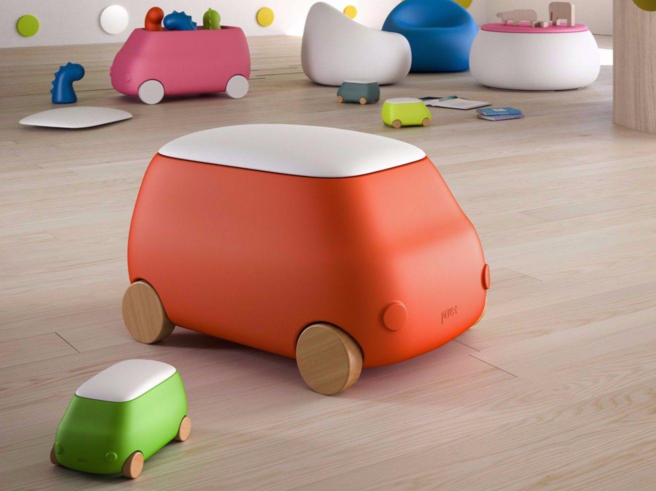 kinder aufbewahrungsbox aus kunststoff mit rollen plust. Black Bedroom Furniture Sets. Home Design Ideas
