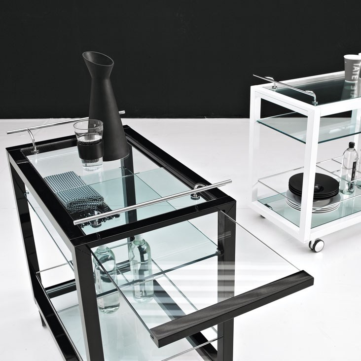 chariot boisson en bois et verre profil bar by cattelan italia. Black Bedroom Furniture Sets. Home Design Ideas