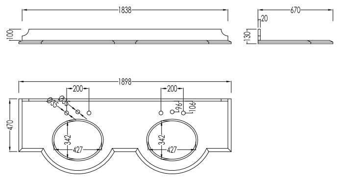 meuble sous vasque double en bois regent devondevon - Dimention Meuble Double Vasque