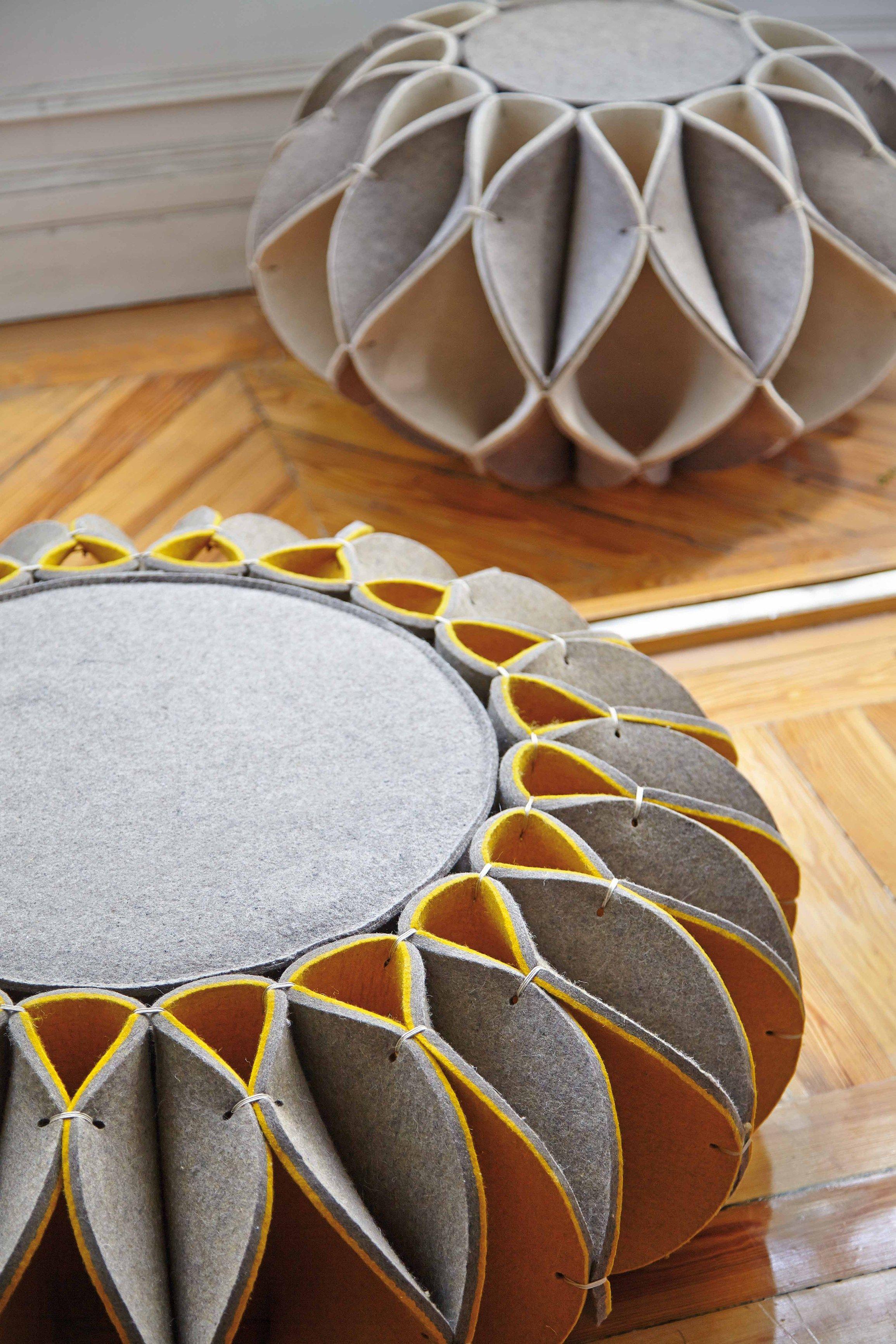 Pouf in feltro di lana ruff pouf hight collezione ruff pouf by gan by gandia blasco design - Muebles romero valencia ...