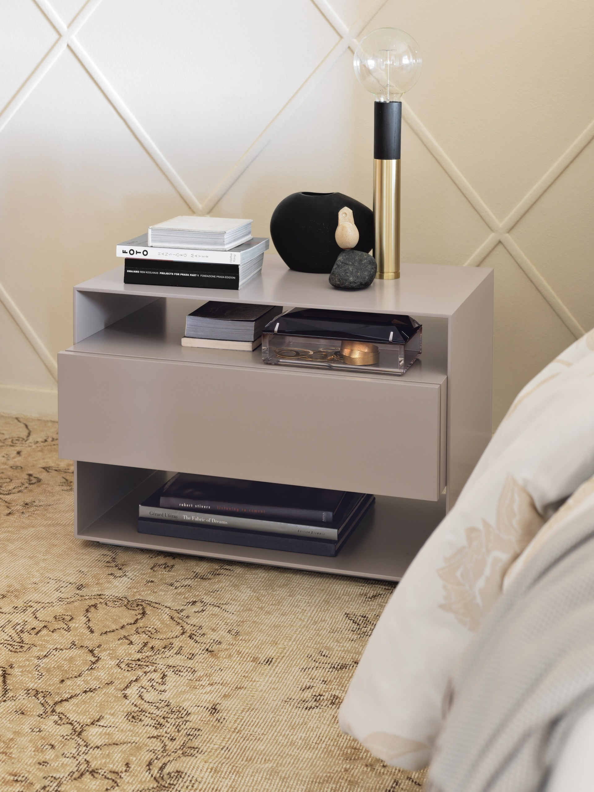 SANYA Bedside Table By Flou Design Carlo Colombo