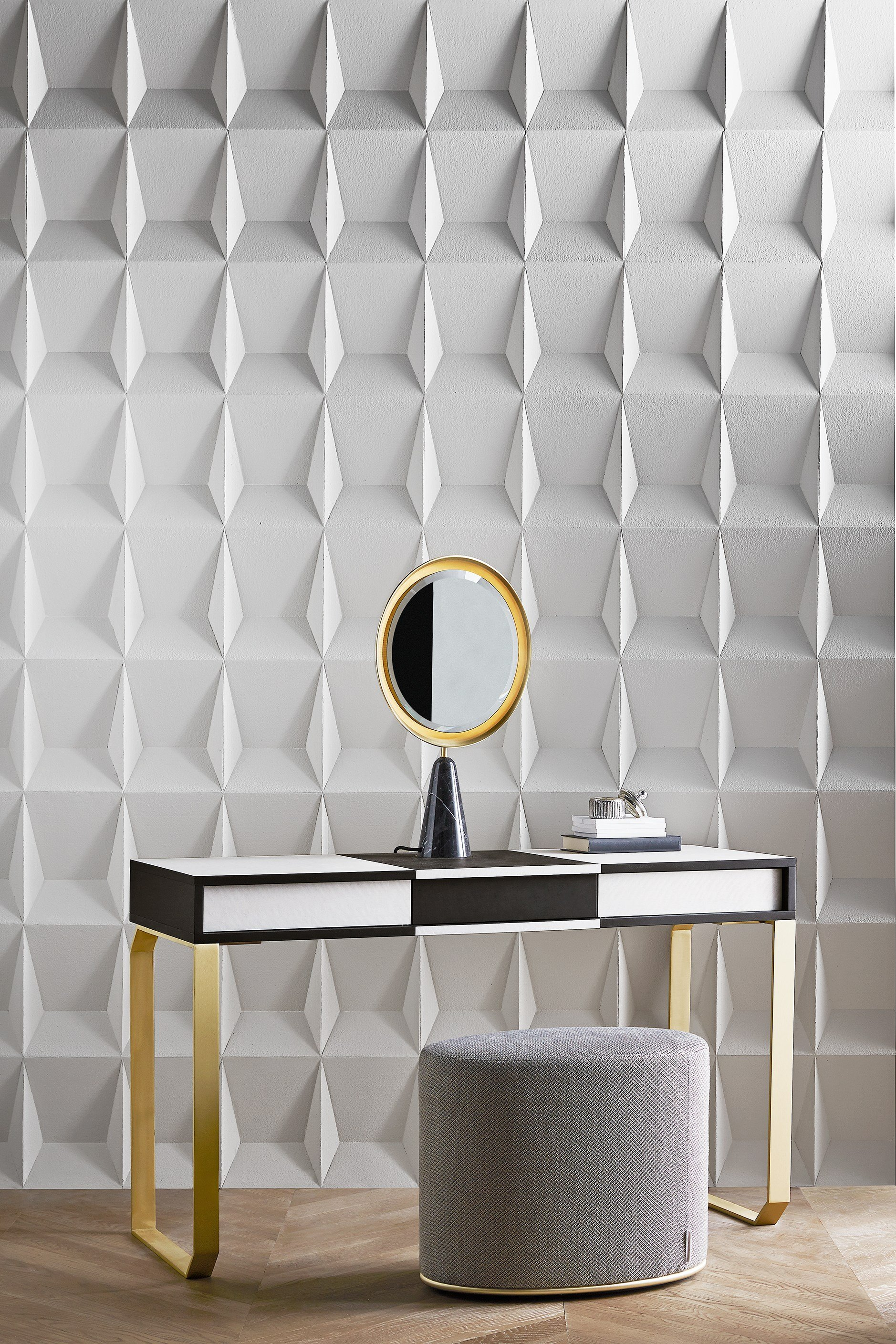 wooden and brass dressing table selene by gallotti radice design pietro russo. Black Bedroom Furniture Sets. Home Design Ideas