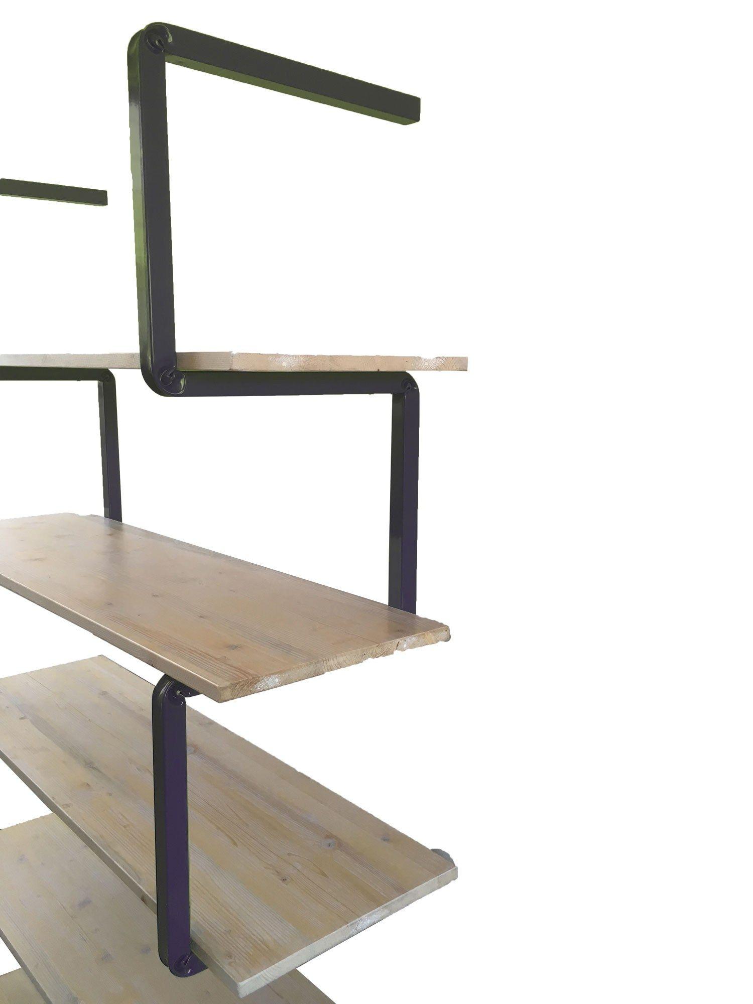 offenes regal aus stahl und holz series by. Black Bedroom Furniture Sets. Home Design Ideas