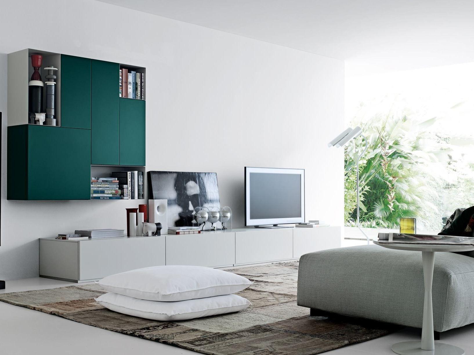 Anbau  lackierte tv  wohnwand sintesi by poliform design carlo colombo